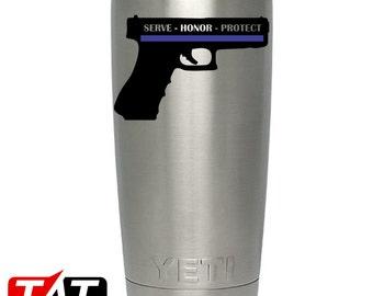 Police Serve Honor Protect Handgun YETI Decal