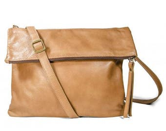 Convertible purse, brown leather purse, shoulder bag, clutch bag, cross body bag, flap bag, minimalist bag, leather pouch, leather zip purse