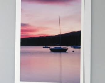 Sunset, Bowness on Windermere, Lake District, photograph on greeeting card