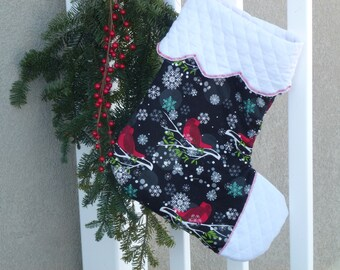 Birds in the snow Christmas stocking