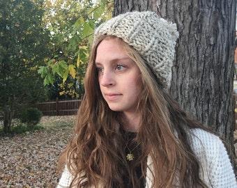 Slouchy Knit Hat with Pom Pom