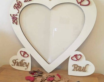 Alternative Wedding guest book personalised wedding heart drop box and sign