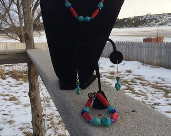 Day of the Dead Hand Made Necklace + Bracelet + Earrings Jewelry Set