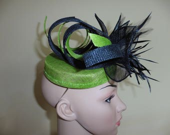 Lime and black pillbox,Wedding Hat,Ascot Hat,Occasion Hat,Pillbox Hat, Race Hat,