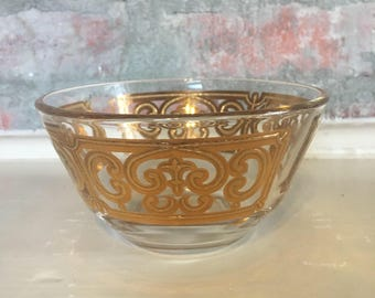 Georges Briard Gold Scroll Dip/Nut Bowl // 1960's