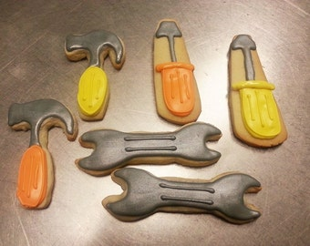 Tool Cookies One Dozen - Construction Cookies - Tool Cookies - Hammer Cookies - Wrench Cookies - Construction Party - Sugar Cookies