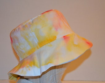 Yellow Sea cotton reversible Sun Hat hand painted watercolor