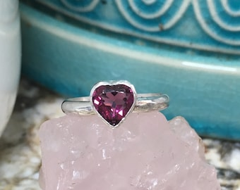 Silver rhodolite heart ring