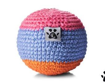 Organic Cotton Crochet Dog Ball Toy - Blue - Handmade