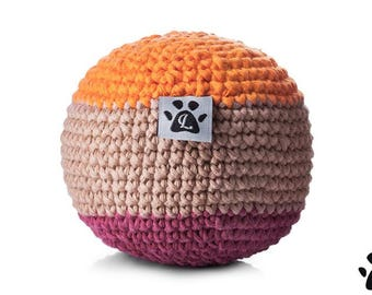 Organic Cotton Crochet Dog Ball Toy - Latte - Handmade
