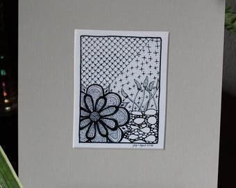 MADE TO ORDER - Black Matted - Zentangle Art Print from Original Drawing (pictured is an 8x10, light gray)
