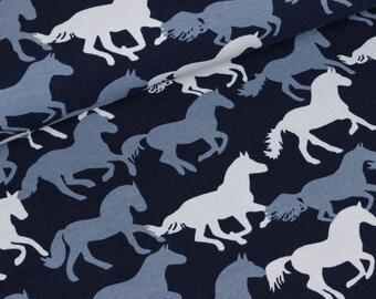 Cotton Jersey Vera horses on blue (15,50 EUR / meter)