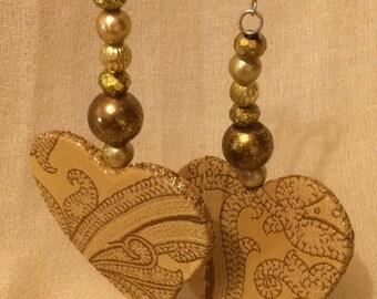 Silk gold heart earrings