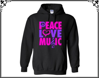 Peace Love Music Hooded Sweatshirt Peace Hoodies Love Hoodies Music Sweater Hoodies Hooded Sweatshirt Sweater