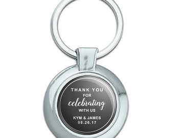 Gray Line Thank You Celebrating Us Personalized Round Plated Metal Keychain