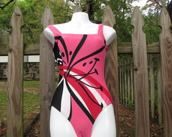 Pink 1 Piece Bathing Suit made by Gottex Size 6