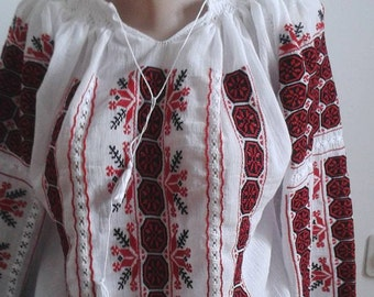 Romanian traditional hand embroidered linen blouse FREE SHIPPING