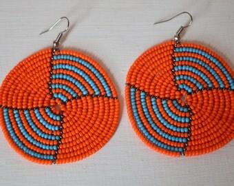African Maasai Beaded Dangle Earrings | Tribal earrings | Africa Jewelry | Ethnic earring | Round Earrings | Elegant Earrings | Gift for Her