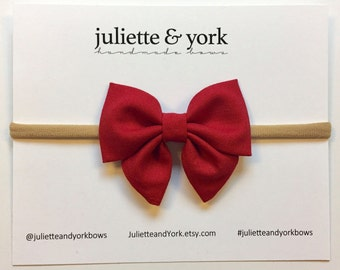 Red Crimson Mini Sailor Bow {Nylon Headband or Alligator Clip} baby bows, baby bow headband, bow clips, nylon headband