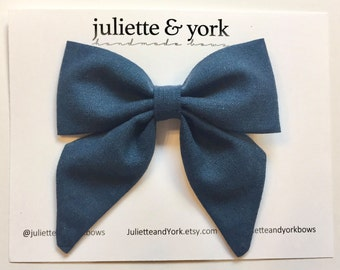 Indigo Navy Blue Sailor Bow Clip, baby bows, baby bow clip, bow alligator clip
