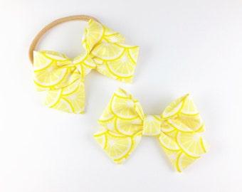 Baby Girl, Toddler, Girls Fabric Bow Headband or Hair Clip  -  Lemonade, Lemon Bow, Nylon Baby Headband, Summer Bow Headband