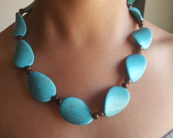 Turquoise moon drops-necklace and earring set