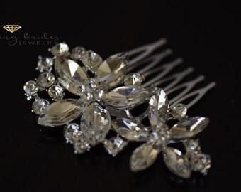 Crystal rhinestone hair barrett, Bridal headpiece, Bridal hair barrettes, Bridal hair clip, Wedding head piece, Rhinestone headpiece