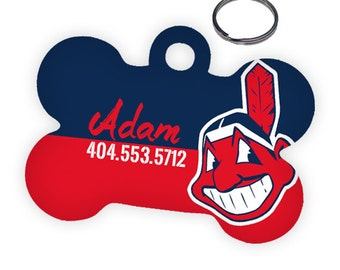 Cleveland Indians Custom Personalized Pet ID Tag for Dog