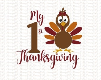 My First Thanksgiving SVG, Cut File, Cricut File, Silhouette SVG, Girl 1st Thanksgiving