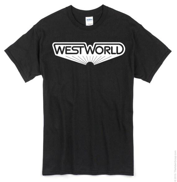 WestWorld Vintage Logo T Shirt. White screen print on black t shirt.
