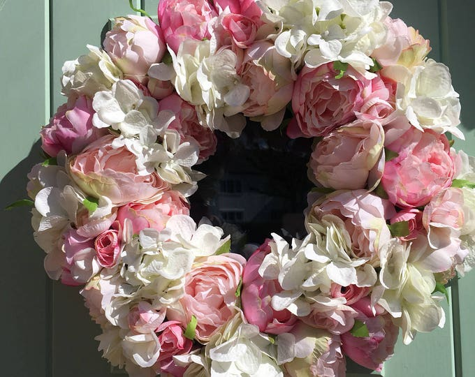 Beautiful Peony and Hydrangea Door Wreath