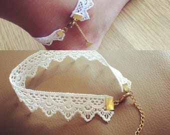 White Lace Anklet
