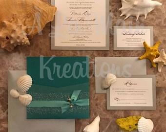 Teal Beach Wedding Invitations