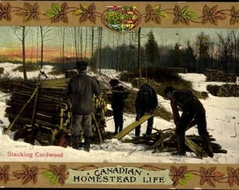 VR Canadian Homestead Life, c. 1900 Hand Painted Postcard, Stacking Cordwood, CANADA Insignia w/ Image Framed