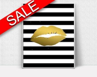 Wall Art Lips Digital Print Lips Poster Art Lips Wall Art Print Lips Fashion Art Lips Fashion Print Lips Wall Decor Lips Gold Lips