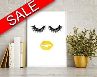 Wall Decor Eyelashes Printable Lips Prints Eyelashes Sign Lips Beauty Art Lips Beauty Print Eyelashes Printable Art Eyelashes gold lips