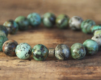 Unisex bracelet turquoise Jasper African 10mm INZ - I
