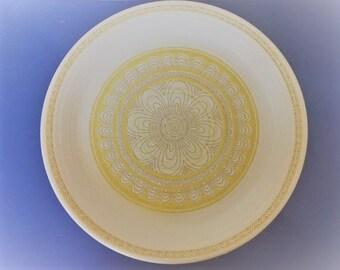 Mid-Century, Vintage, Franciscan Earthenware-Hacienda Gold Pattern-7 Dinner Plates-Retro Plates