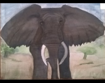Original Painting, Elephant, 16x20