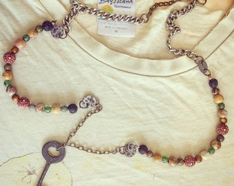Vintage style antique key and bead  multi chain necklace