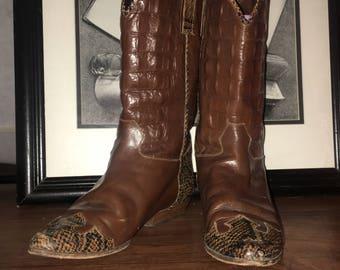 VERO CUOIO Italian Vtg Designer Alligator Skin Leather Mid-calf Boots