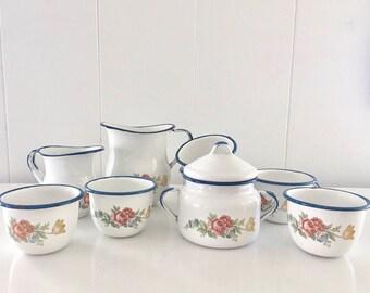 Vintage Cinsa Enamelware 10 piece Tea Set