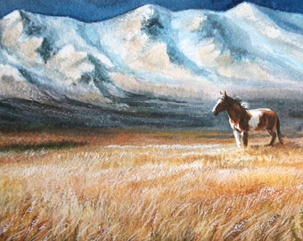 Landscape Painting Mountains landscape Mustang Horse Art Landscape watercolour Mountain fields wyoming cowboy decor