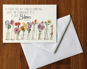 Blooming flowers-greeting card illustration by Anke van Horne-blank rear-includes envelope