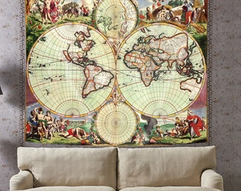 Exceptional Vintage Room Art Bedroom Wall Decor Old Map Of The World Antique World Map Antique  Wall Part 14