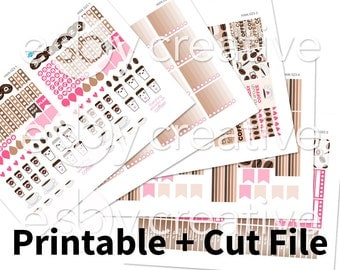 Sale - 25% Off! Coffee Theme - Weekly Sticker Kit Printable for Erin Condren Horizontal - HWK-023 - INSTANT DOWNLOAD