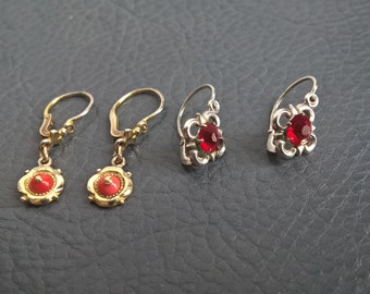2 x Antique Edwardian 800 Silver Gold Plated Coral Red Paste Very Small Dangle Earrings