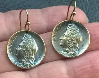 1900-1909's Antique  Edwardian Louis XIV metal dangle earrings