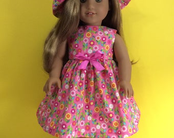 "Pink flowers sun dress and sun hat for 18"" dolls"