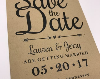 Printed, Save the Date Cards, 130lb Brown Kraft Card Stock, 5x7, Commercial Press, Premium Quality and Still Affordable!